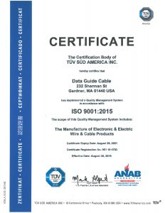 Data Guide Cable ISO 9001 2015 Certification